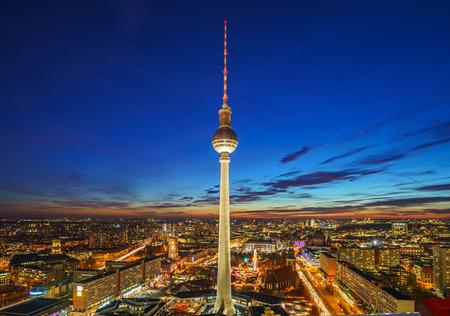 Aerial view on Alexanderplatz at night, Berlin, Germany Editorial