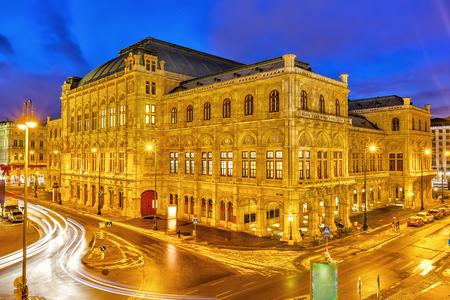 Teatro dell'Opera di Vienna di notte, Austria
