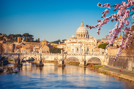 View at Tiber and St. Peters cathedral in Rome Reklamní fotografie