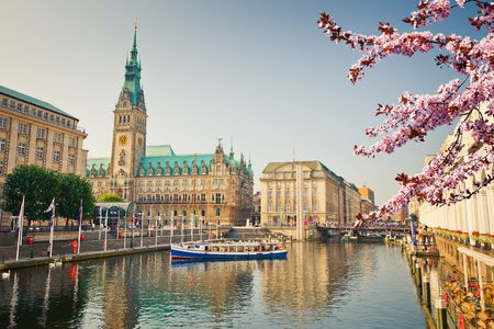 townhall: Hamburg townhall and Alster river at spring
