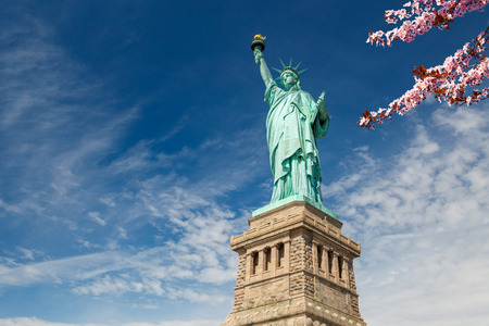 Statue of Liberty with blooming cherry on foreground, New York Stock Photo
