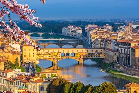 river arno: Ponte Vecchio over Arno river in Florence at spring, Italy Stock Photo