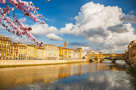 Arno river in Florence at spring, Italy