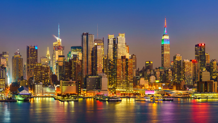 View on Manhattan at night, New York, USA