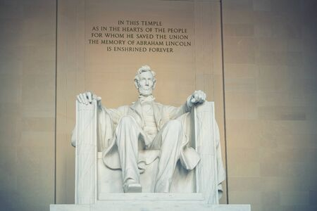 abe: Statue of Abraham Lincoln, Lincoln Memorial, Washington DC Editorial