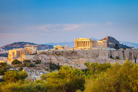 View on Acropolis at sunset, Athens, Greece Standard-Bild