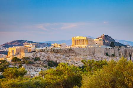 Mening over Akropolis bij zonsondergang, Athene, Griekenland