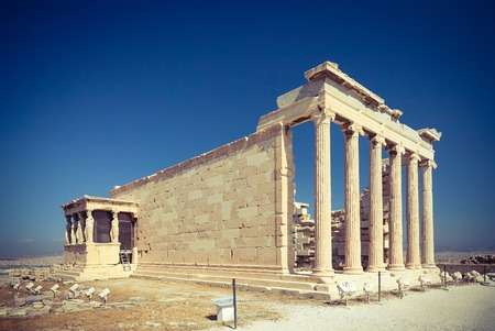 Erechtheum temple ruins in the Acropolis of Athens, Greece