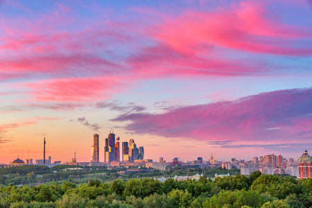 Bright clouds over Moscow City at sunset Banque d'images