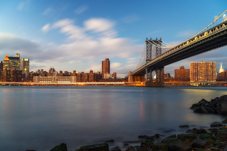 Manhattan bridge and Manhattan after sunset, New York City