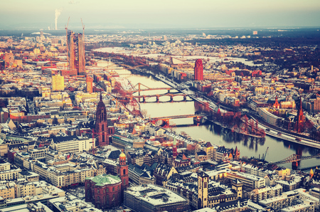 Aerial view over Frankfurt am Main at winter Banque d'images