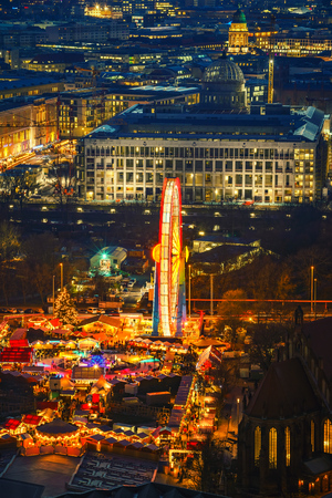 Aerial view on christmas market in Alexanderplatz at night, Berlin, Germany