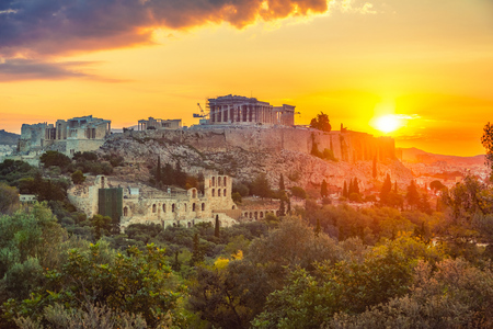 Parthenon, Acropolis of Athens, Greece at summer sunrise