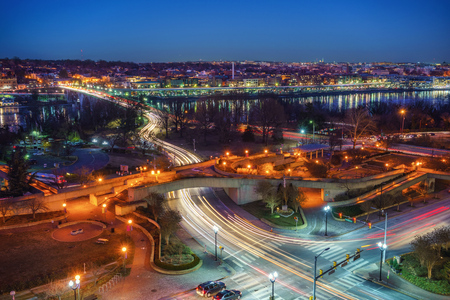 View on Key bridge at dawn, Washington DC, USA