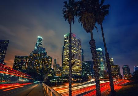 Night traffic in Los Angeles, CA, USA Banco de Imagens