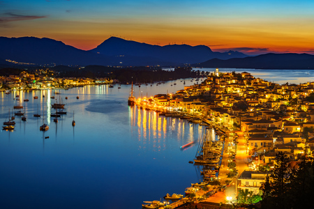 Greek town Poros at night, Greece Banco de Imagens