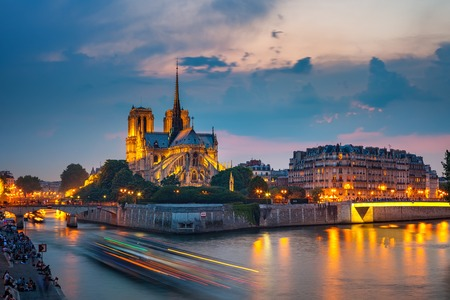 Notre Dame de Paris at night, France Stock Photo