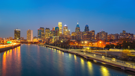 Panoramic picture of Philadelphia skyline and Schuylkill river at night, PA, USA. Stock Photo