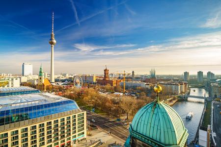 Aerial view on Alexanderplatz and Spree river, Berlin, Germany Stock Photo