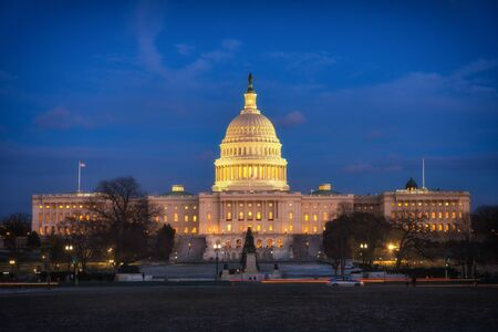 US Capitol in Washington DC at dusk