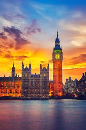 Big Ben and westminster bridge at dusk in London Archivio Fotografico