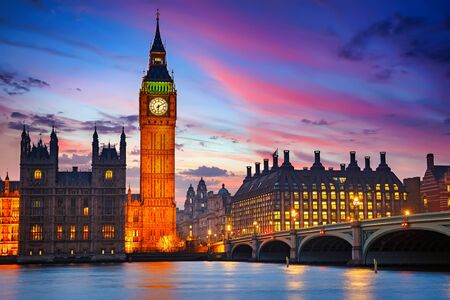 Big Ben and westminster bridge at dusk in London Stock Photo