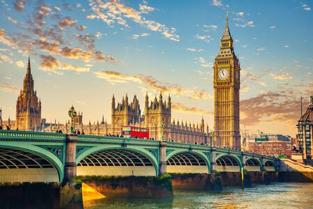 Big Ben and westminster bridge in London at sunrise Stock Photo