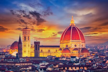 Duomo cathedral in Florence at dusk, Italy