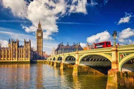 Big Ben and westminster bridge in London at sunny day