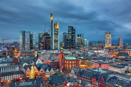 View on Frankfurt am Main at dusk, Germany