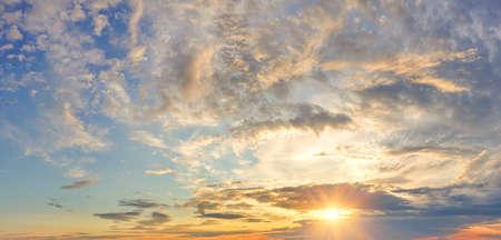 Panorama of dramatic colorful sky at sunset 免版税图像