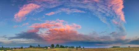 Beautiful landscape with colorful sunset in a countryside