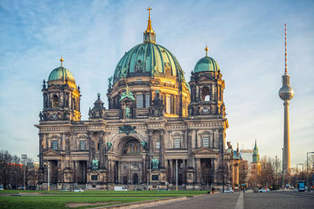 Berlin Cathedral aka Berliner Dom at sunset Stock Photo