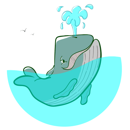 Vector logo blue whale fountains