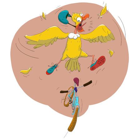 cycling helmet: Cheerful vector illustration of a bird