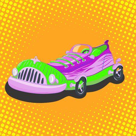 Vector illustratie cartoon sneaker auto