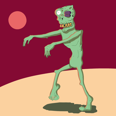 Vector illustration of a cartoon zombie with a black eye