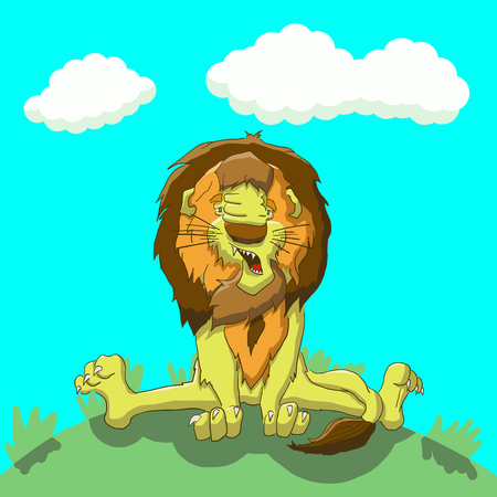 rey caricatura: Vector illustration tired lion sitting on the lawn