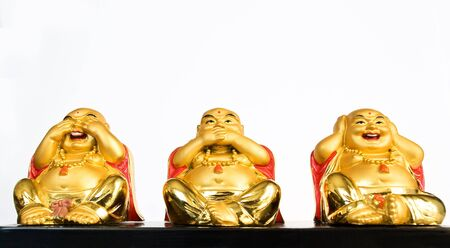 ancient yoga: Buddha does not see, not hear, and do not speak Stock Photo