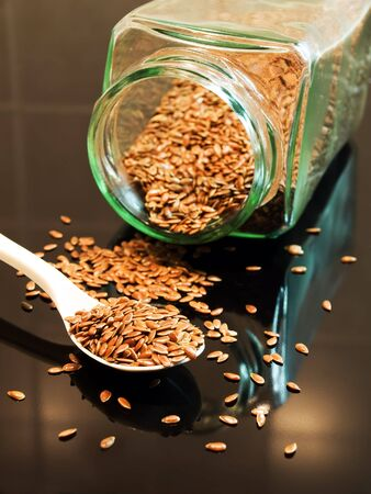 flax seed: Flax seed is very healthy for our digestion and nutrition. Stock Photo