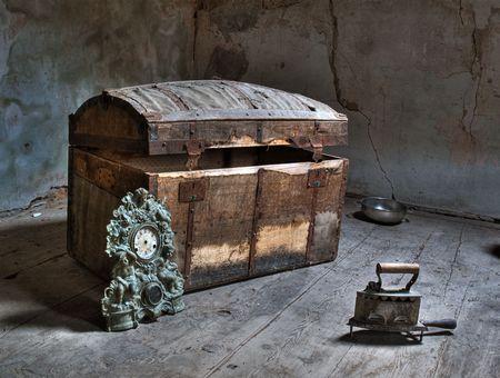 HDR imagen de un antiguo granero, en algunos casa abandonada. Foto de archivo