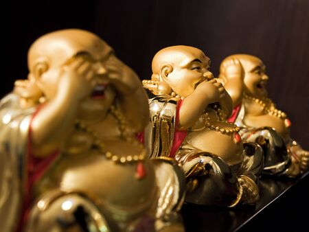 ccloseup: Expressing of Buddha is  shown with three sculptures... Stock Photo