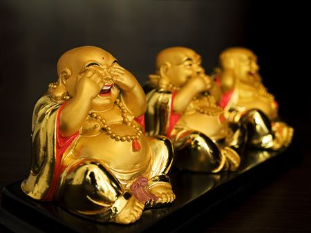 ccloseup: Expressing  Buddhas emotions  shown on  the three sculptures...