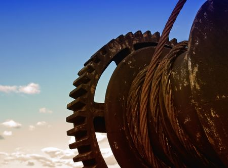 worm gear: Cog wheel or gear represent the metaphor of an old industry Stock Photo