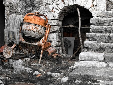 buildingsite: Old building site with even older tools. Stock Photo