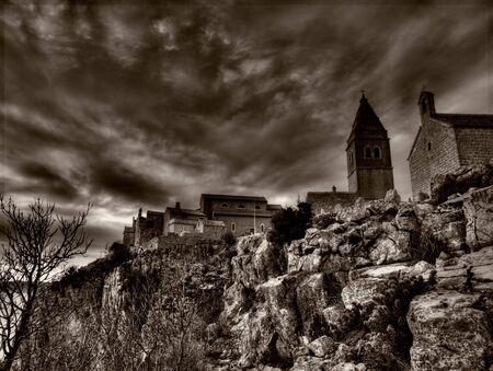 adriatic: Mediterranean Village in black and white technique. horror style Stock Photo