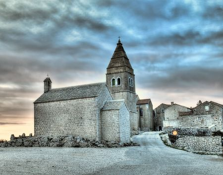 Lubenice. Croatian village on the rocky Adriatic coast,island Cres.HDR technique.