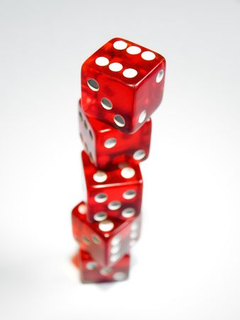 Conceptual image with several dice on a clear background represent growth of risk in investment. Stock Photo - 4745095