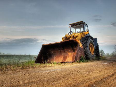 hdr: Big bulldozer � la construction site.HDR technique.