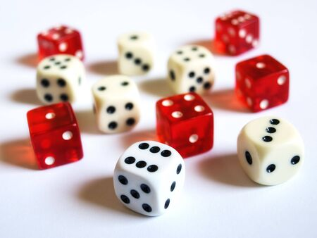Conceptual image with several dice on a clear background. Stock Photo - 4810014